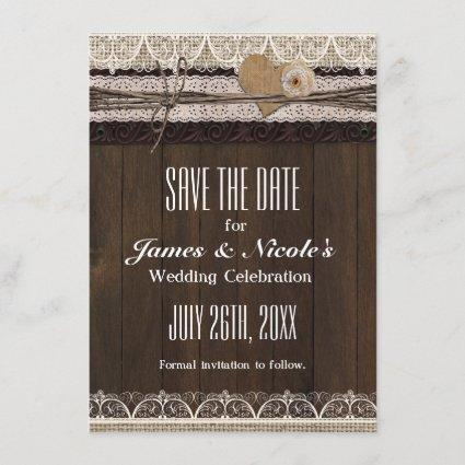 Rustic Country Burlap & Lace Save The Date Card