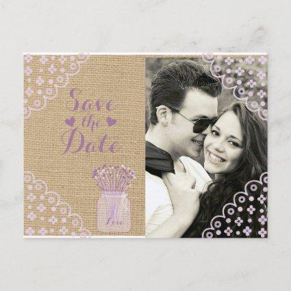Rustic Country Burlap Save the Date with Lavendar Announcements