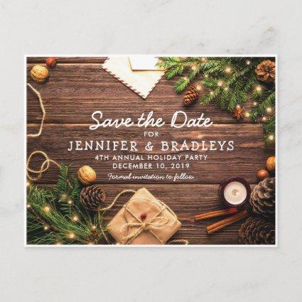 Rustic Country Christmas Holiday Save the Date Announcement