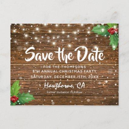 Rustic Country Christmas Party Save the Date Announcement