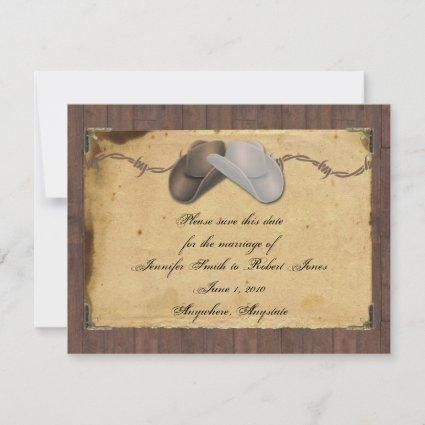 Rustic Country Cowboy Hats Barbed Save the Date