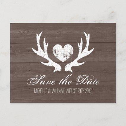 Rustic country deer antler save the date Cards