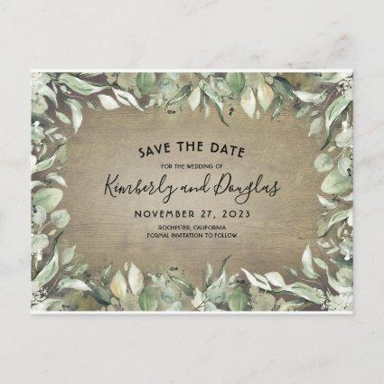 Rustic Country Greenery Frame Save the Date Announcement