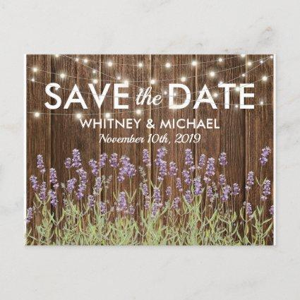 Rustic Country Lavender Lights Save the Date Announcement