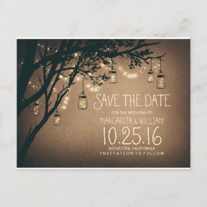rustic country lights mason jars save the date Announcements Cards