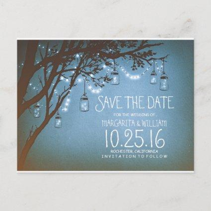 rustic country lights mason jars save the date announcement