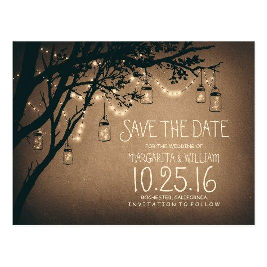 rustic country lights mason jars save the date Cards