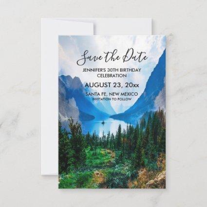Rustic Country Mountains Scenic Nature Birthday Save The Date