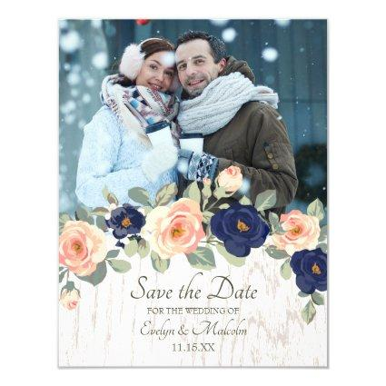 Rustic Country Navy Blue and Peach Floral Wedding Invitation