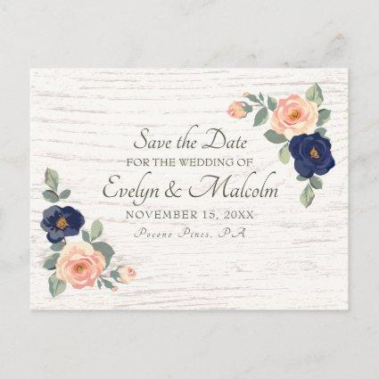 Rustic Country Navy Blue, Peach Floral Wedding STD Announcement