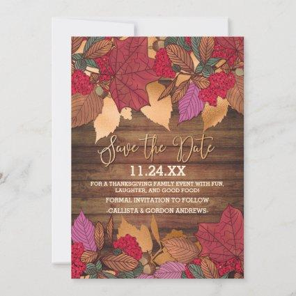 Rustic Country Red Brown Fall Leaves Thanksgiving Save The Date