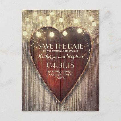 Rustic country save the date & carved heart lights announcement