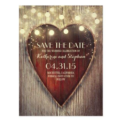 Rustic country  & carved heart lights Cards