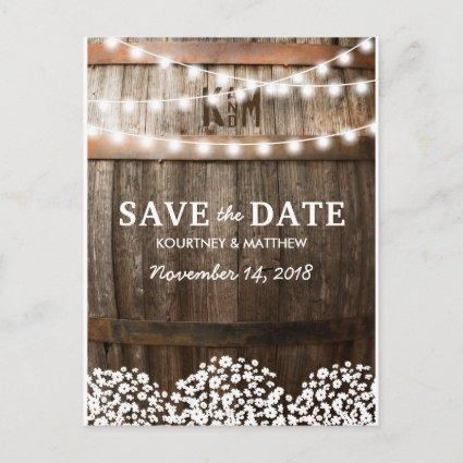 Rustic Country Save the Date | String of Lights Announcements Cards
