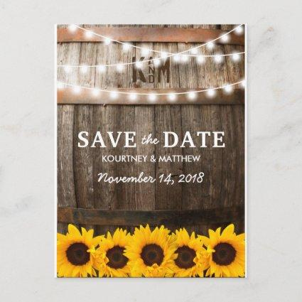 Rustic Country Save the Date | Sunflower Lights Announcements Cards