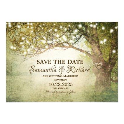 Rustic Country String Lights Save The Date Card
