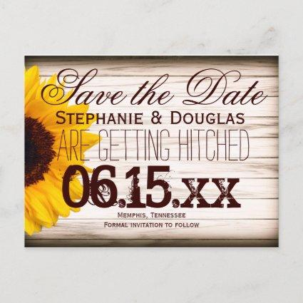 Rustic Country Sunflower Save the Date Cards