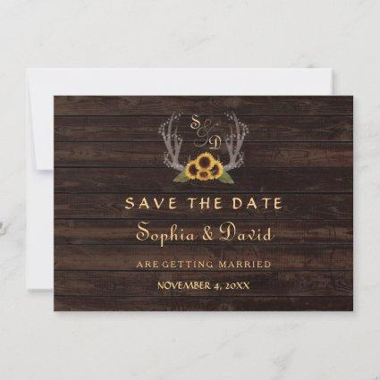 Rustic Country Sunflowers Antlers Save the Date