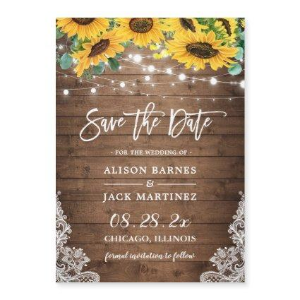 Rustic Country Sunflowers Save the Date Magnet
