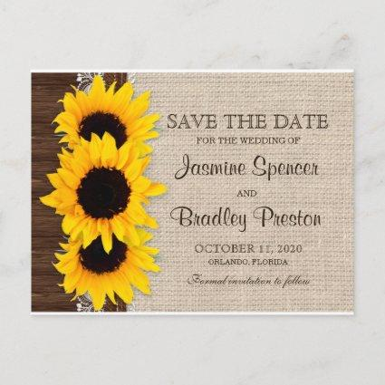 Rustic Country Sunflowers Wedding Save The Date Announcement