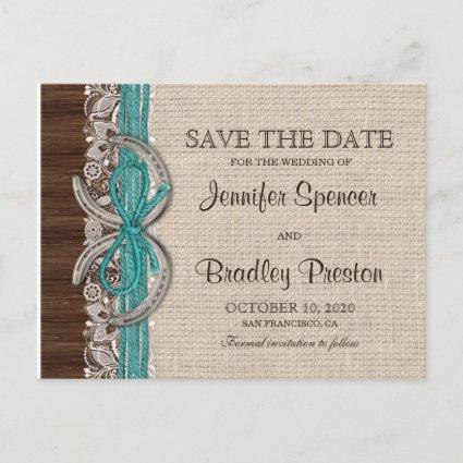 Rustic Country Western Horseshoe Save The Date Announcements Cards