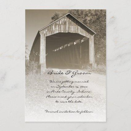Rustic Covered Bridge Wedding Save the Date
