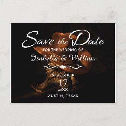 Rustic Cowboy Boots & Hat Save the Date Wedding Announcement