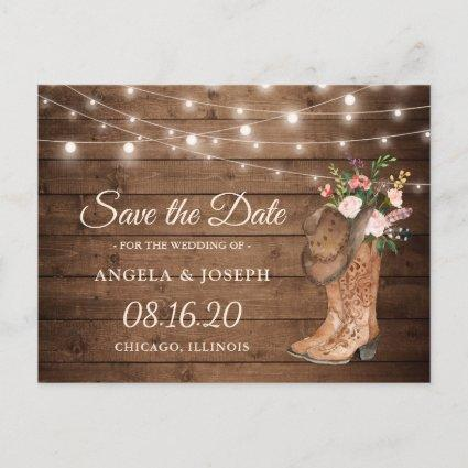 Rustic Cowboy Cowgirl Boots Floral Save the Date Announcement