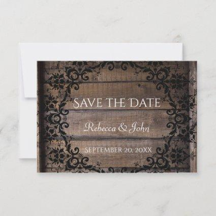 Rustic Damask Floral Save the Date Announcement
