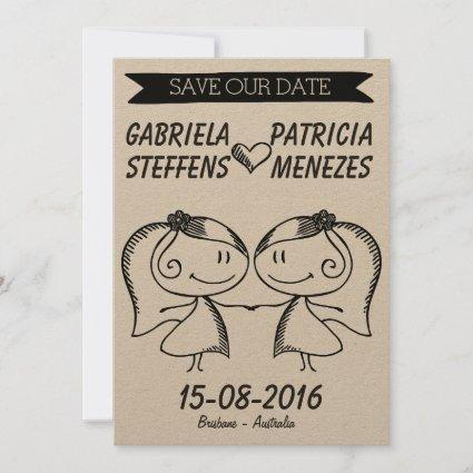 Rustic Doodle Couple Lesbian Save the Date