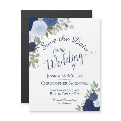 Rustic Dusty Blue Floral Wedding Save the Date Magnetic Invitation