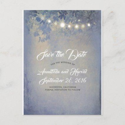 Rustic Dusty Blue String Lights Save the Date Announcement