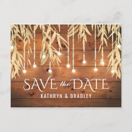 Rustic Elegant Gold Willow Tree Save the Date Announcement