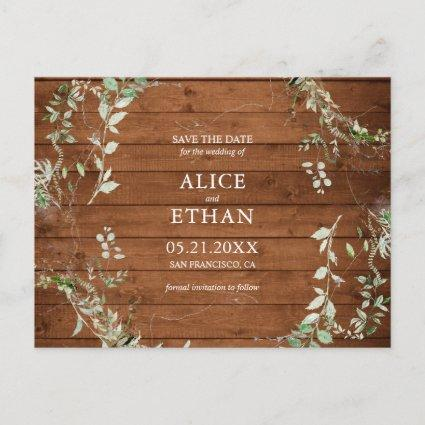 Rustic Elegant Greenery Wedding Save The Date Announcement