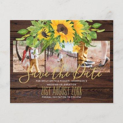 Rustic Engagement Photos Sunflowers Save the Date