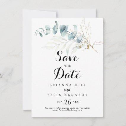 Rustic Eucalyptus Gold Floral Calligraphy Wedding Save The Date