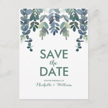 Rustic Eucalyptus Greenery Gum Tree Save the Date Announcement
