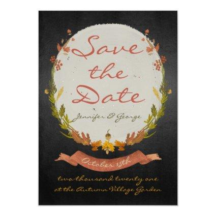 Rustic Fall Autumn Save The Date Floral and Black Invitation