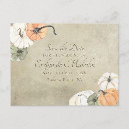Rustic Fall Autumn Wedding Save the Date Announcement