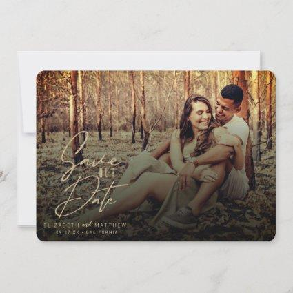 Rustic Fall Filter Gold Script Front & Back Photos Save The Date