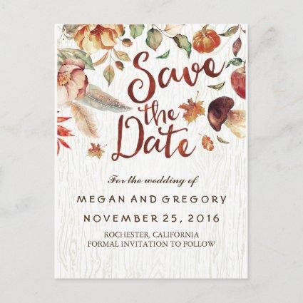 Rustic Fall Harvest Pumpkin Save the Date Announcement