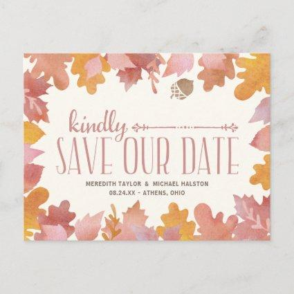 Rustic Fall Leaves Colorful Save the Date Announcement