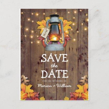 Rustic Fall String Lights Autumn Save the Date Announcement