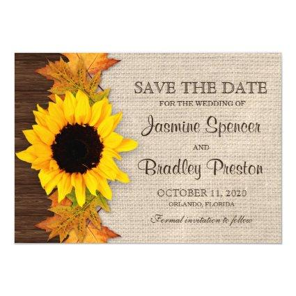 Rustic Fall Sunflower Save The Date Magnets