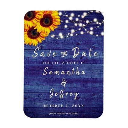 Rustic Fall Sunflower Wedding Blue Save the Date Magnet