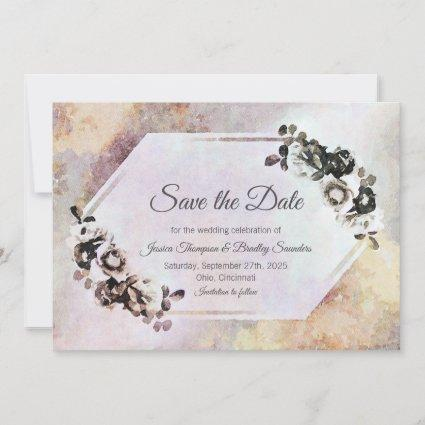 Rustic Fall Watercolor Floral Save The Date
