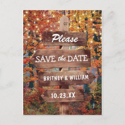 Rustic Fall Woodland Wedding Save the Date Announcement