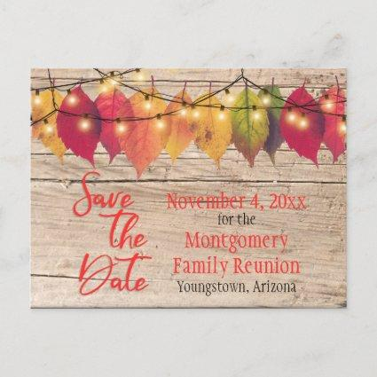 Rustic Family Reunion Save The Date Autumn Leaves Announcement