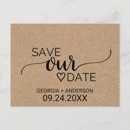 Rustic Faux Kraft Modern Calligraphy Save Our Date Announcements Cards