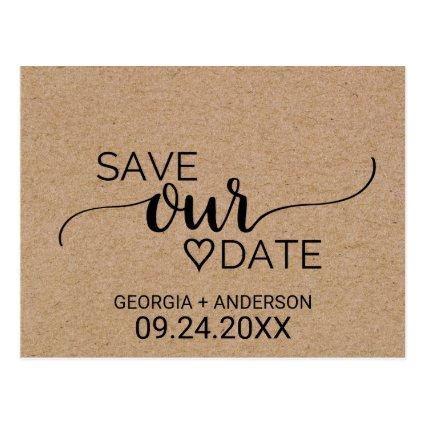 Rustic Faux Kraft Modern Calligraphy Save Our Date Cards